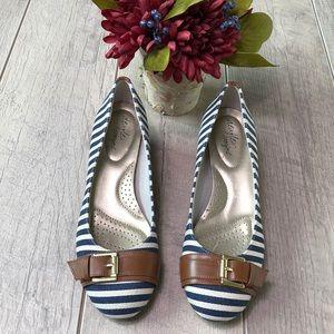 Dexflex Comfort Blue&off-white striped wedges
